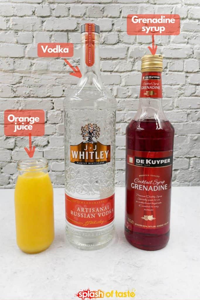 vodka, orange juice and grenadine, ingredients needed for a vodka sunrise cocktail.