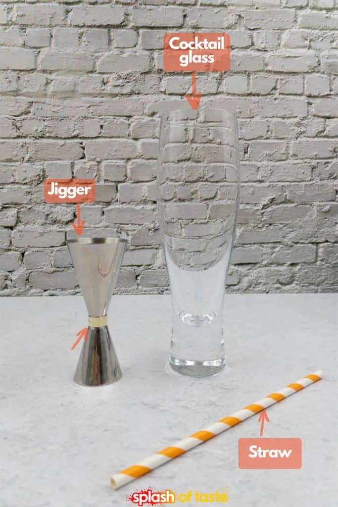 A cocktail glass, a jigger and a staw.