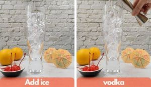 Process shots, add ice and pour vodka.