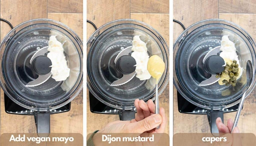 Process shots for making vegan caesar dressing, add vegan mayo, Dijon mustard and capers to the blender.