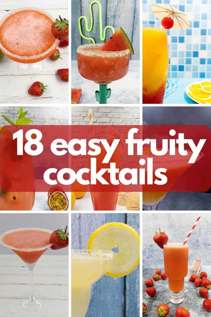Image for easy fruity cocktails, cocktails in martini glasses, margarita glasses, coupes and highball glasses, all bright refreshing fruit based beverages.