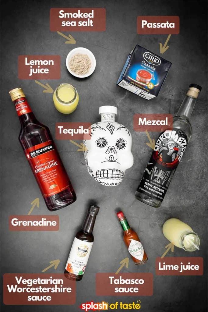 Ingredients needed to make a Halloween cocktail recipe, smoked sea salt, passata, mezcal, tequila Blanco, lemon juice, grenadine, vegetarian Worcestershire sauce, tabasco sauce and fresh lime juice.