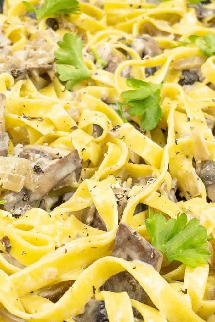 Close up of mushroom pasta with a creamy mushroom sauce.