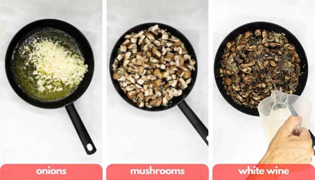 Process shots for mushroom pasta add onions, mushrooms and white wine.