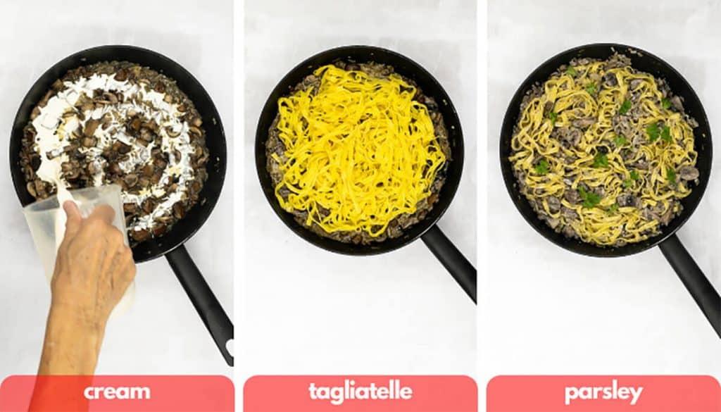 Process shots for mushroom pasta add double cream, tagliatelle and parsley.