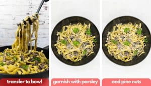 Process shots for mushroom pasta, transfer to bowl, garnish with parsley and pine nuts.