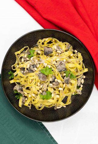 A bowl of mushroom pasta.