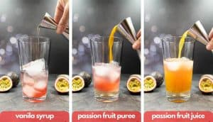Process shots add vanilla sugar syrup, passion fruit puree and passion fruit juice.