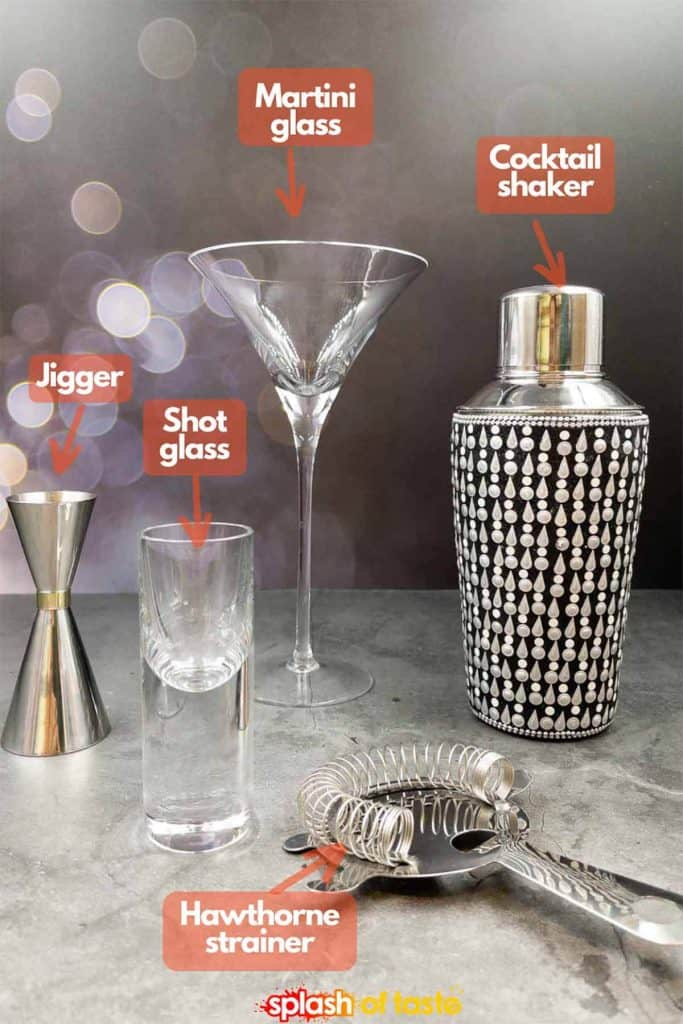 Equipment needed martini glass, shaker, jigger, shot glass and Hawthorne strainer.