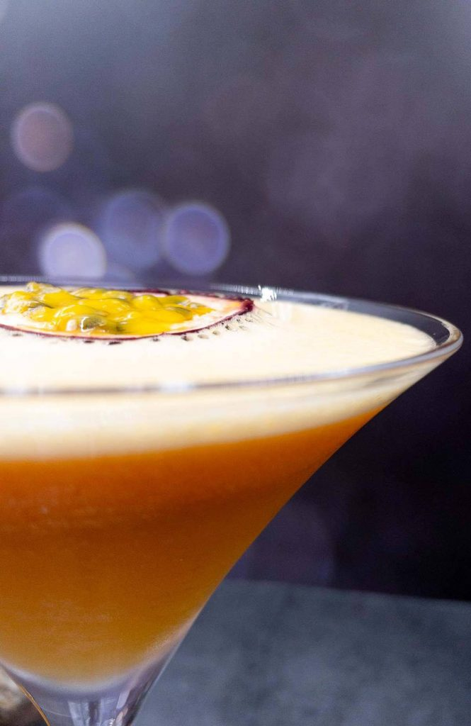 Pornstar martini gin in martini glass.