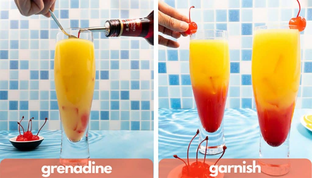 Process shot for how to make a tequila sunrise, add grenadine and a maraschino cherry.