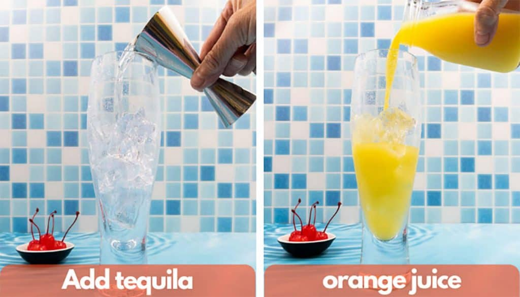 Process shot for how to make a tequila sunrise, add just tequila and orange juice.