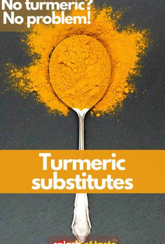 A spoonful of yellow turmeric spice with a caption turmeric substitute, no turmeric, no problem for featured image.