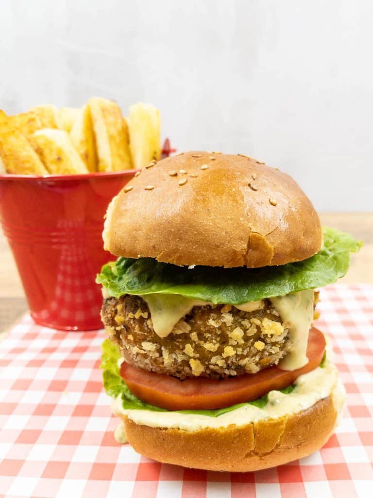 Ready to eat crunchy plant based vegan chicken burger.