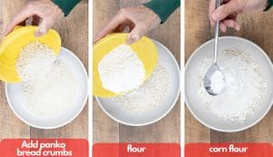Process shots for how to make bread crumbs add panko bread crumbs, flour and cornflour.