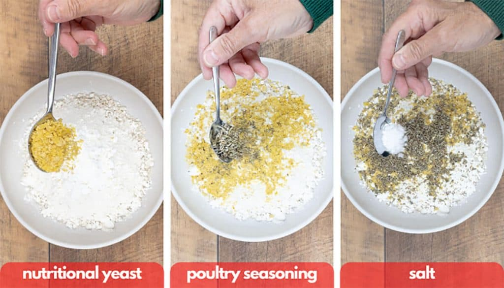 Process shots for how to make bread crumbs, add nutritional yeast, poultry seasoning and salt.