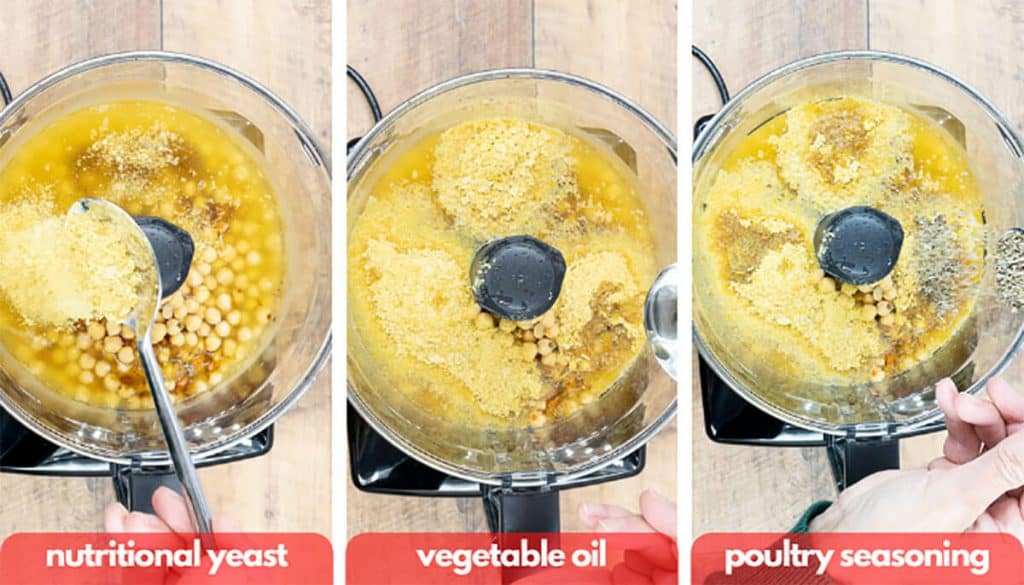 Process shots for vegan chicken patties, add nutritional yeast, vegetable oil and poultry seasoning to food processor.