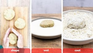 Process shots for how to make plant based vegan chicken patties, shape dough, wet dough in vegan milk and then place dough in bread crumbs in mixing bowl.