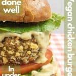 Vegan chicken burger for pinterest.