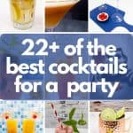Long Island Iced Tea, Pornstar Martini, Envy cocktails, Tequila Sunrise, Raspberry Mojito and Mexican Mules in 22 best cocktails for a party image.