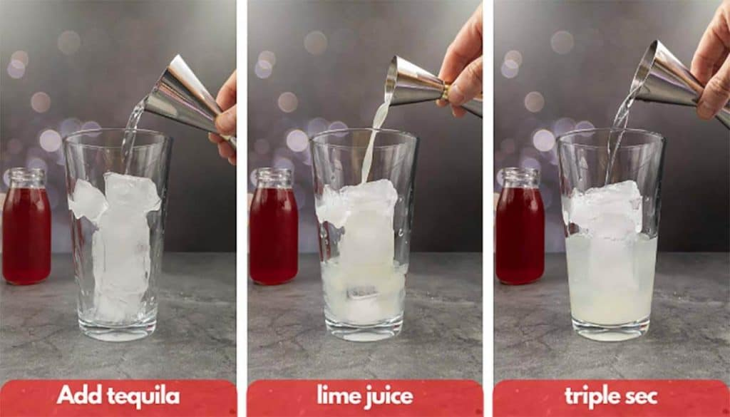 Process shots for making cranberry margaritas, add tequila, fresh lime juice and triple sec.