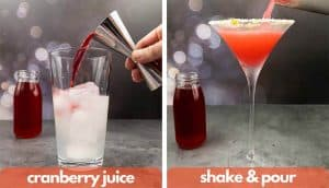 Process shot for making cranberry margaritas, add cranberry juice and shake and pour.