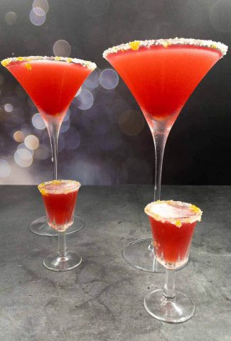 Four easy cranberry margaritas with salted sugar rims.