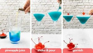 Process shots to make an Envy blue drink, add fresh pineapple juice, pour and garnish with maraschino cherry.