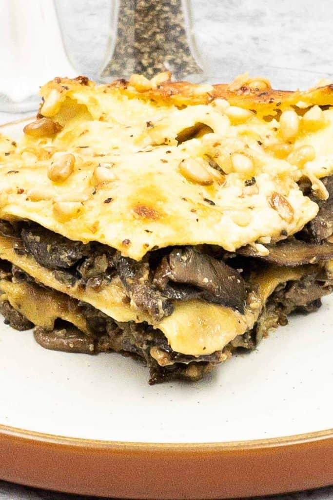 Close up of a tasty slice of homemade lasagne al forno, with pine nuts on top.