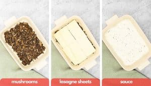 Process shots for making lasagne, layer of mushrooms, layer of pasta sheets and layer of white sauce.