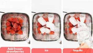 Process shots for making frozen strawberry margaritas, in the blender add frozen strawberries, ice cubes and tequila.