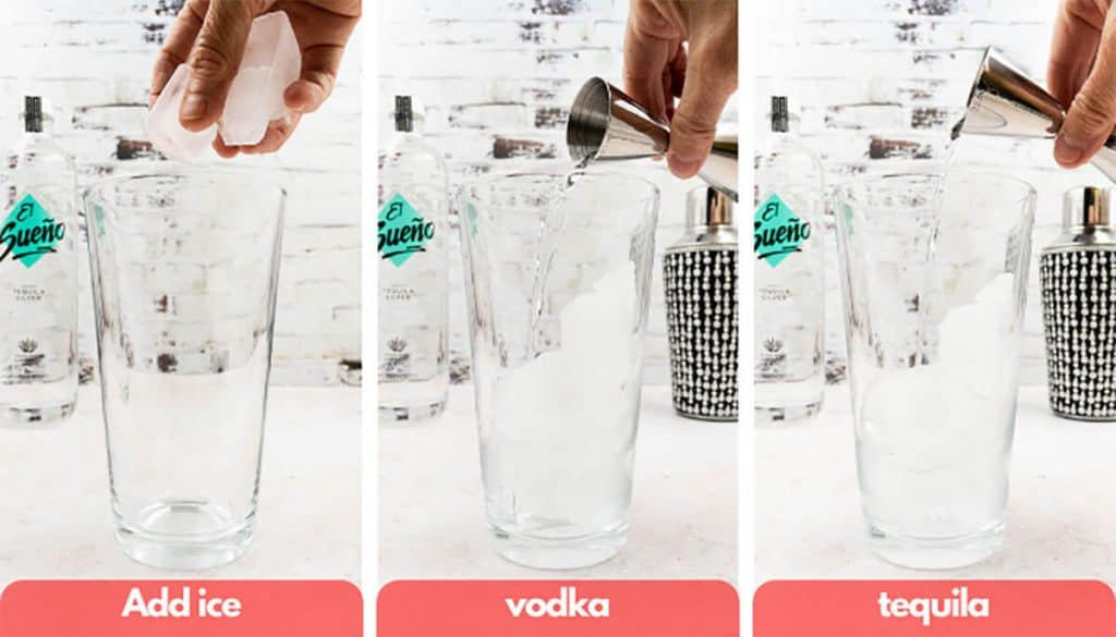 Process shots to make a Long Island Iced Tea, add ice cubes, vodka and tequila.