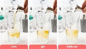 Process shots to make a Long Island Iced Tea, add rum, gin and triple sec.