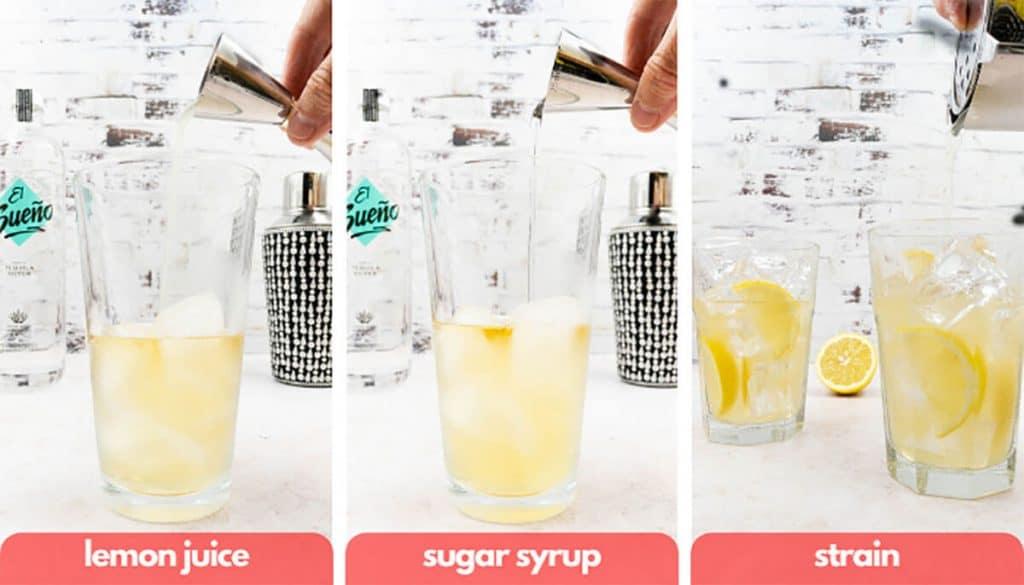 Process shots to make a Long Island Iced Tea add lemon juice, sugar syrup, strain and pour into highball glass.