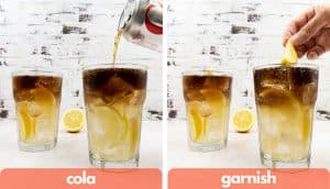 Process shots to make a Long Island Iced a splash of cola and a lemon wedge garnish.