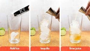 Process shot for margarita on the rocks, add ice, tequila, lime juice.