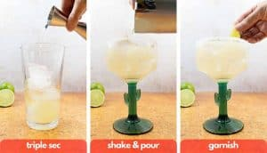 Process shot for how to make a margaritas, add triple sec orange liqueur, shake and pour and garnish with a lime wedge.