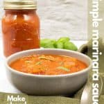Marinara sauce recipe image for Pinterest.