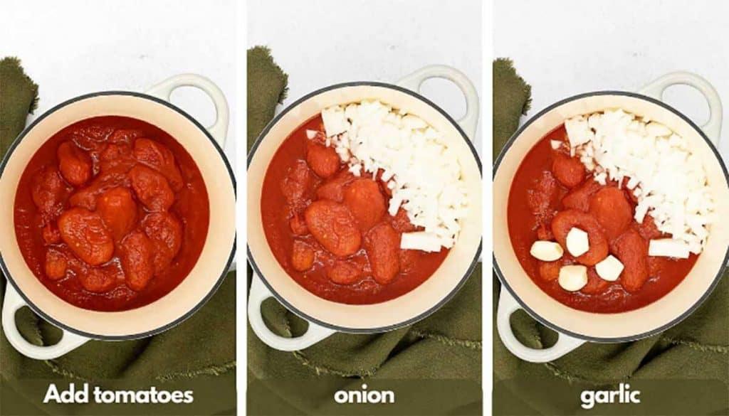 Process shots homemade marinara sauce, add tomato sauce tomatoes, onion and garlic cloves.