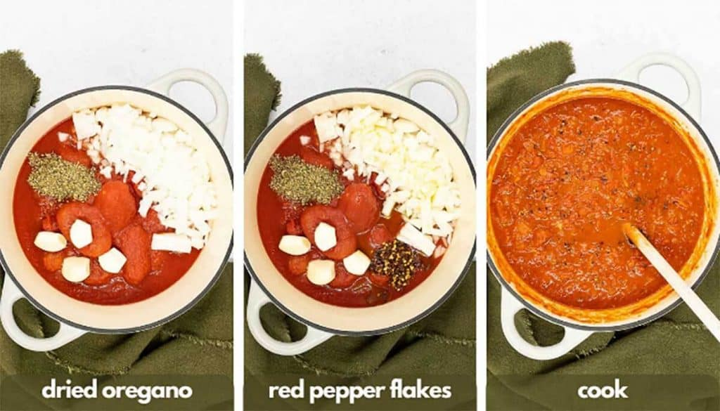 Process shots for homemade marinara sauce recipe, add dried oregano, red pepper flakes and cook.