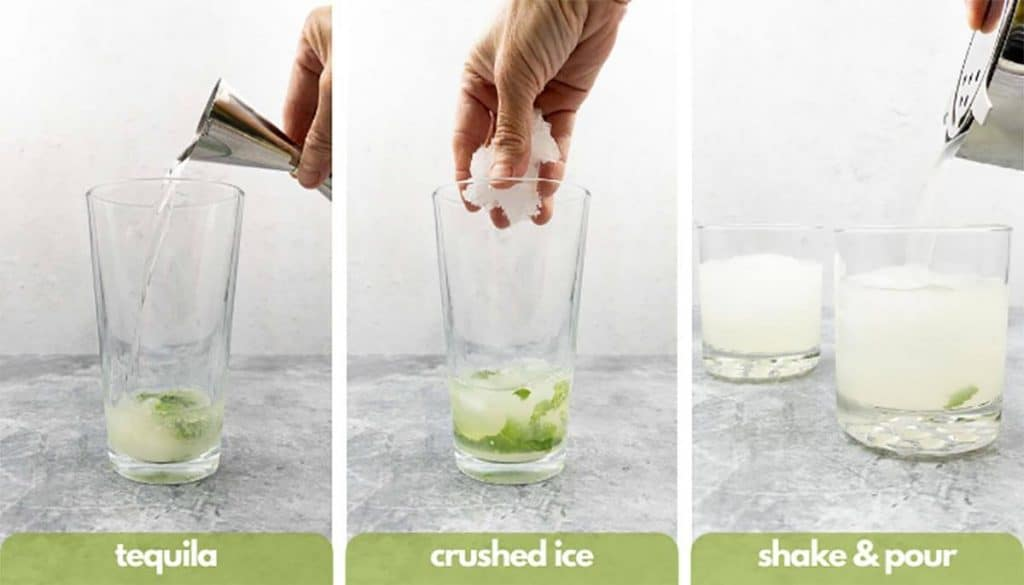 Process shots for how to make a mojitorita add tequila, crushed ice, shake and pour into a glass.