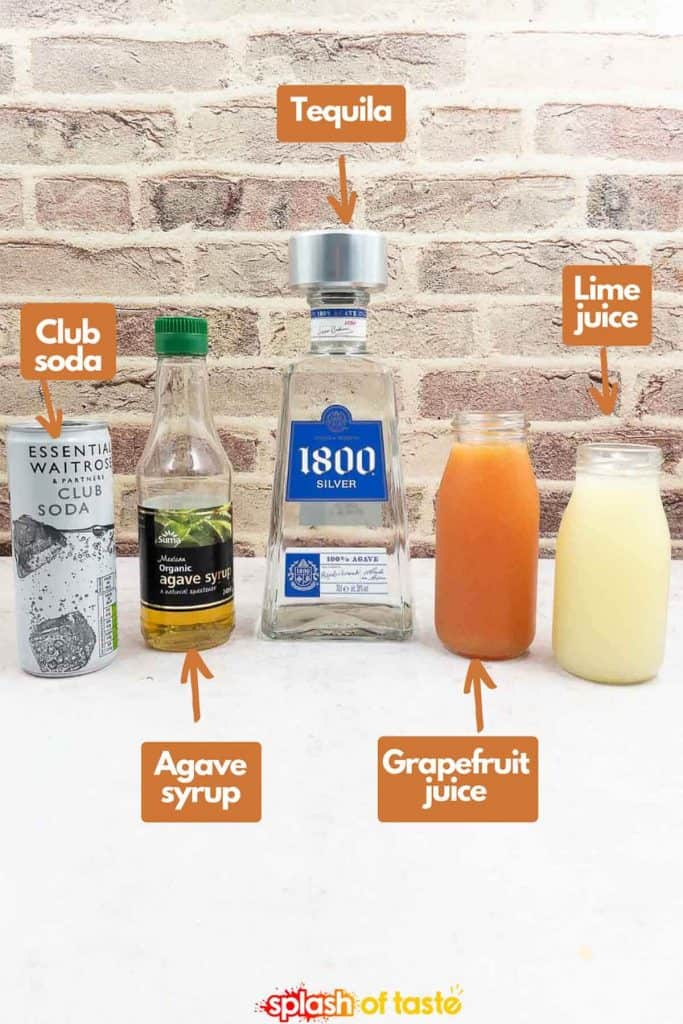 Ingredients to make a Paloma cocktail, club soda, agave nectar, freshly squeezed grapefruit juice and lime juice.