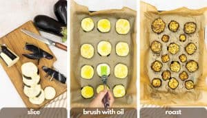 Process shots for making pasta à la norma, slice eggplant, brush with extra virgin olive oil and roast eggplant in oven.