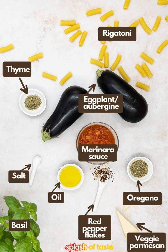 Ingredients for making pasta à la norma, thyme, rigatoni, eggplant, tomato sauce, oregano, parmesan, red pepper flakes, extra virgin olive oil, basil leaves and kosher salt.