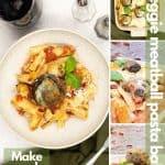 Vegetable pasta bake with veggie meatballs image for Pinterest.
