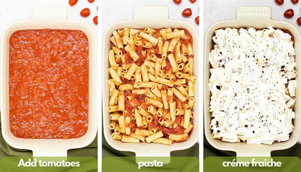 Process shots to make veggie baked pasta recipe, add tomato sauce to baking dish, add cooked pasta and add créme fraiche to baking dish.