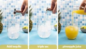 Process shots for how to make a pineapple tequila, add tequila, triple sec and pineapple juice.