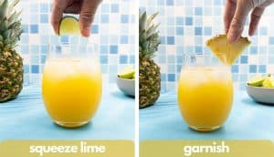 Process shots for making a pineapple tequila, squeeze lime and garnish with a pineapple wedge.