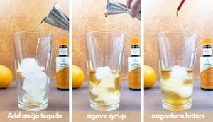 Process shot for how to make a tequila old fashioned, add anéjo tequila, agave nectar and angostura bitters.