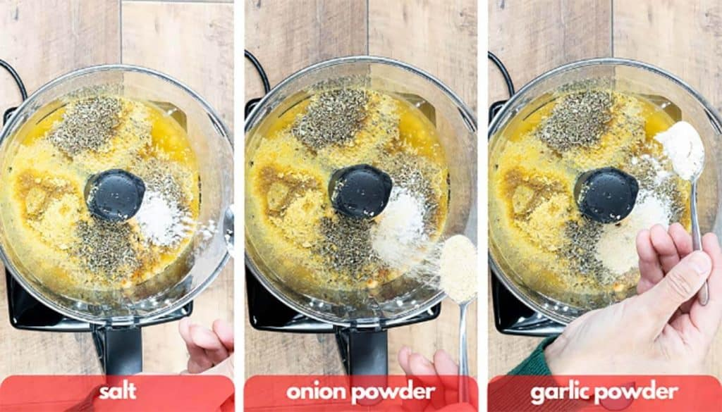 Process shots for vegan chicken patties, add salt, onion powder and vital wheat gluten to food processor.
